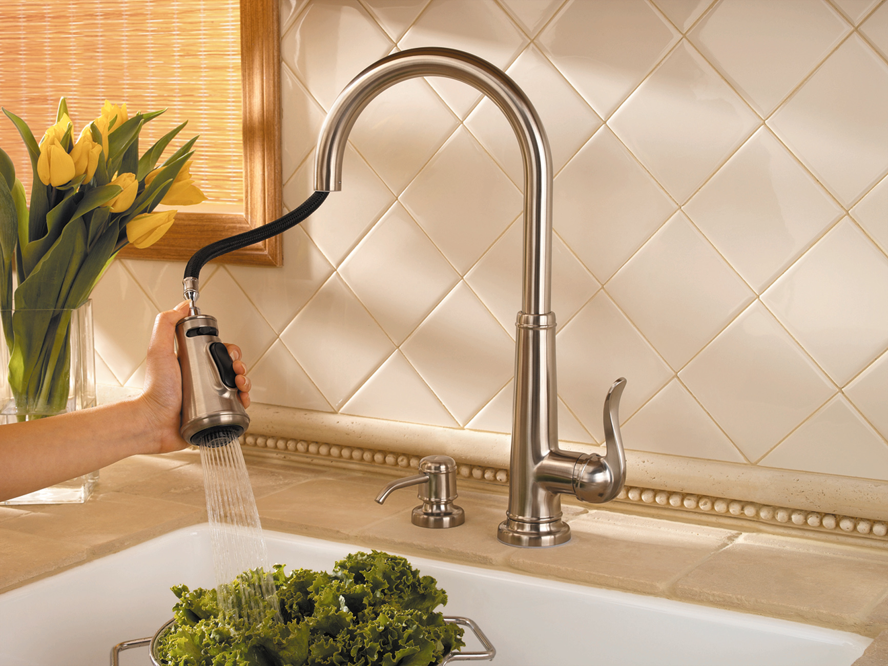 dulley column color graphics photo this tall spout kitchen faucet has a long pullout sprayer for convenience and water savings photo credit price pfister