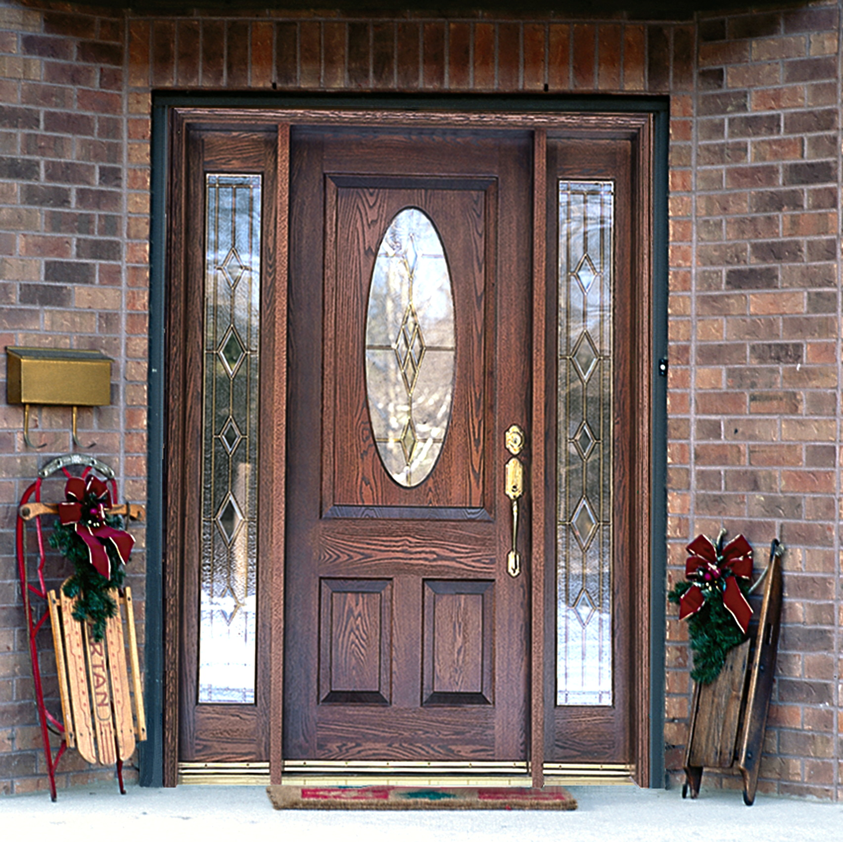 Dulley column color graphics for Wood and glass front entry doors